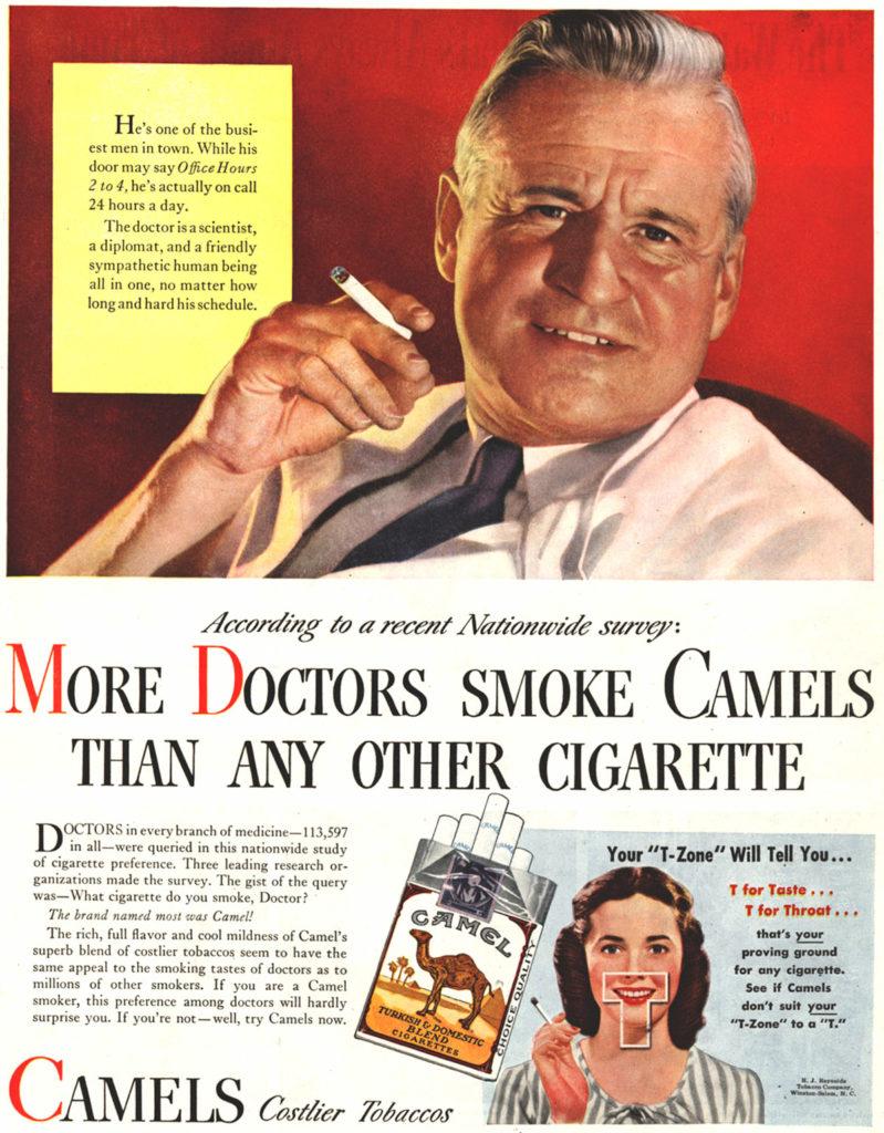 advert showing doctors advocating smoking